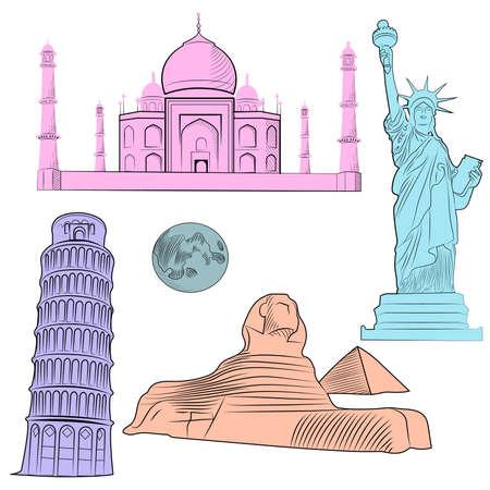 Set van de wereld beroemde architectonische bezienswaardigheden van de verschillende landen, veelkleurige met gedetailleerde. Vector illustratie