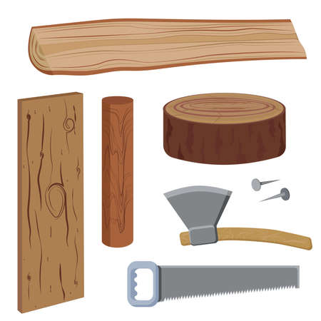 blockhouse: Set of wood and tools to work on wood, in a simplified style, with detail. Firewood, Axe, Saw, Nails, Stump. Vector illustration