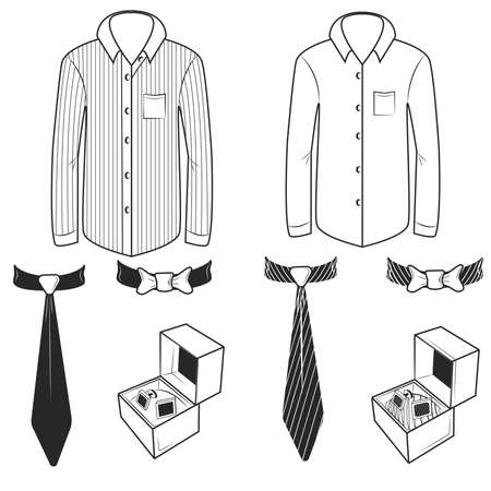 stern: Set of black and white shirts, ties and cufflinks in boxes. Vector illustration
