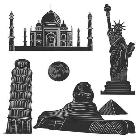 De reeks van wereld beroemde architectonische bezienswaardigheden van de verschillende landen, zwart-wit met gedetailleerde. vector illustratie