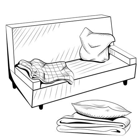 blanket: Vector black and white sofa  with a warm blanket and pillows. Vector illustration