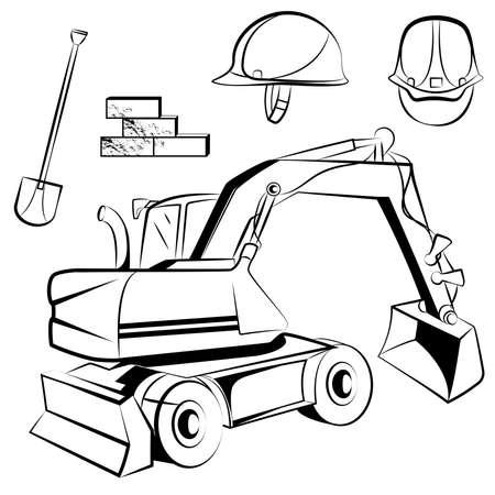 backhoe: Set of building accessories such as a helmet, shovel and backhoe, monochrome graphics. Vector illustration Illustration