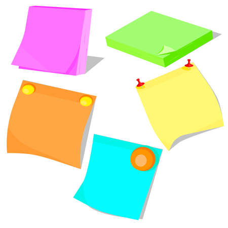 reminders: Set of stickers, adhesive colored paper for notes and reminders. Vector illustration