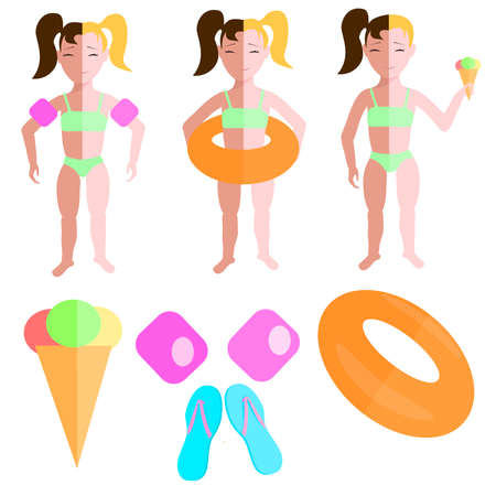 little girl beach: Set of colored illustrations, little girl on the beach with life buoy and ice cream. Vector illustration