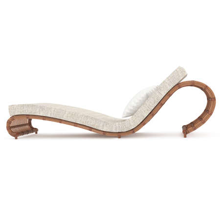 Rattan chaise lounge isolated white background complete with a mattress for a comfortable stay. 3D graphics