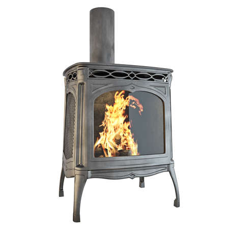 fireplace: Fireplace side view of a fire on a white background isolated. 3D graphics Stock Photo