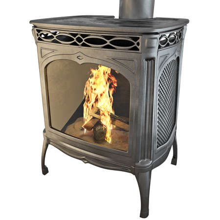 old gas stove: Fireplace The classic black on a white background isolated side view. 3D graphics Stock Photo