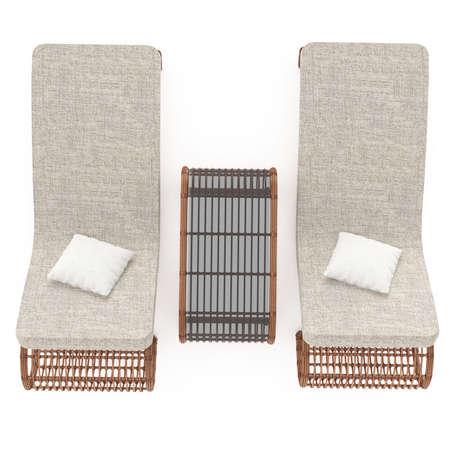 silla de madera: Sillas de mimbre cómodas completa con una mesa sobre un fondo blanco aisladas. Gráficos 3D