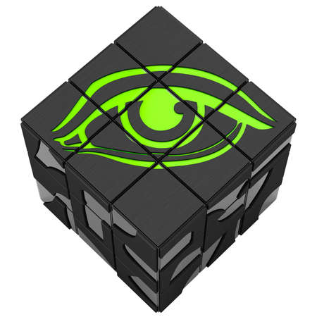 behold: Cube eye on a white background. Put an eye on the cube. 3D graphic Stock Photo