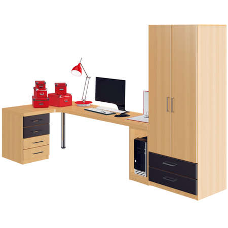 mousepad: Furniture set of wardrobe and table with computer on it. 3d graphic object on white background isolated