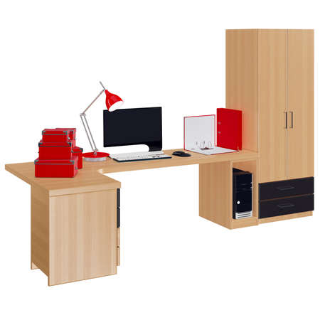 mousepad: Office furniture composition with computer, lamp, boxes for papers and folders. 3d graphic object on white background isolated Stock Photo