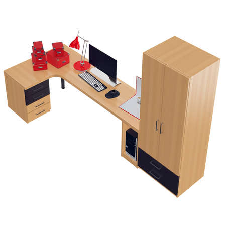 mousepad: Red colored office utilitarian accessories as paper boxes, folders and lamp with black and white colored monitor. 3d graphic object on white background isolated