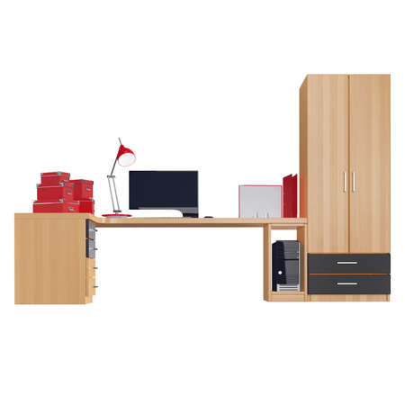 mousepad: Office furniture set with computer, lamp, boxes for papers and folders all of the last three positions made in red colors. 3d graphic object on white background isolated