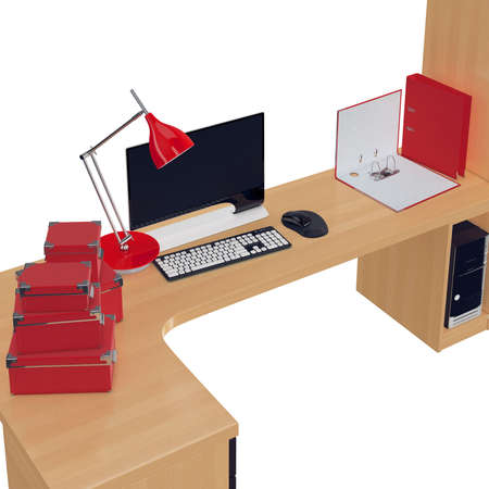 mousepad: Light wood office table on which are placed paper boxes, lamp and folders all in red color. 3d graphic object on white background isolated Stock Photo