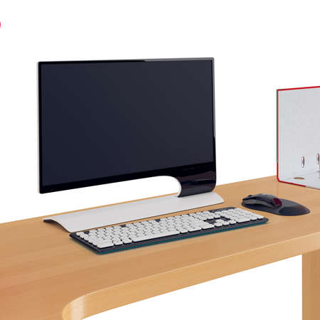 mousepad: Widescreen modern monitor with keyboard and mouse with mouse pad in same black and white colors placed on wooden table. 3d graphic object on white background isolated