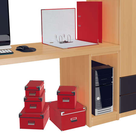 mousepad: Half of the computer table with red document folder on it, PC case in it and red colored paper boxes under it. 3d graphic object on white background isolated