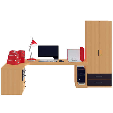 mousepad: Red colored office utilitarian accessories in red colors such as paper boxes, folders and lamp with black and white colored monitor. 3d graphic object on white background isolated
