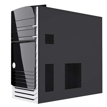 pc case: Gaming PC case with ventilation holes on black steel side panel. 3d graphic object on white background isolated