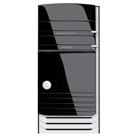 pc case: PC case front glossy panel with graceful design, on-off button and bays for drivers. 3d graphic object on white background isolated Stock Photo