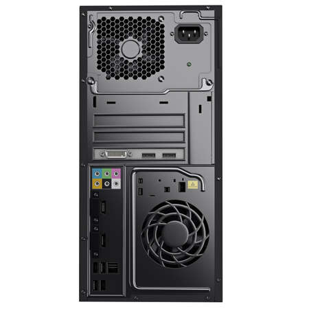 outputs: Back panel of PC case with audio and video outputs ventilation holes and power supply input. 3d graphic object on white background isolated