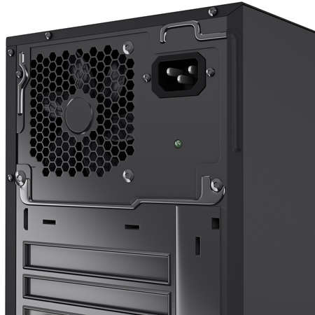 pc case: Top part of a some PC case with ventilation hole for cooling system and with power supply input. 3d graphic object on white background isolated Stock Photo