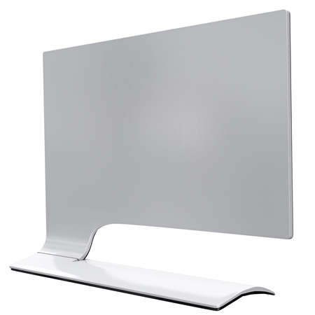 curved leg: Futuristic monitor of white metal back view with curved leg. 3d graphic object on white background isolated