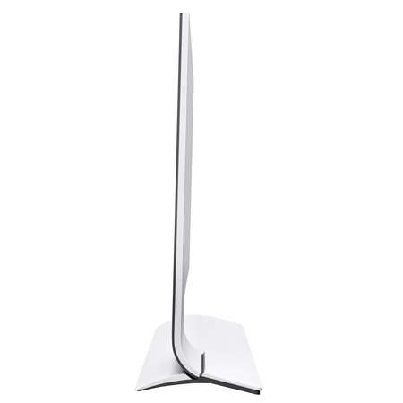 curved leg: Graceful design of modern and futuristic monitor with curved leg of it base. 3d graphic object on white background isolated Stock Photo