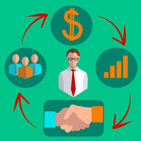 purchasing manager: Infographics set of business commission of a successful transaction icons in a logical sequence looped into flat style. They can be used to design a business plan. Vector Illustration