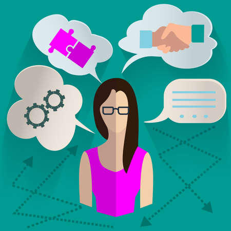 realization: Set of design elements for infographics, woman with the idea of looking for options for its realization with clouds thoughts above her head. Vector Illustration