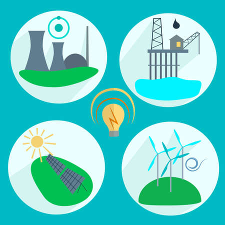 Types of energy production Nuclear power plant, wind turbines, solar panels, oil. Icons into flat style. Vector illustration