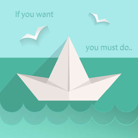 water animal bird card  poster: Motivating card into flat style. The sea ship, birds, waves, text. Vector Illustration