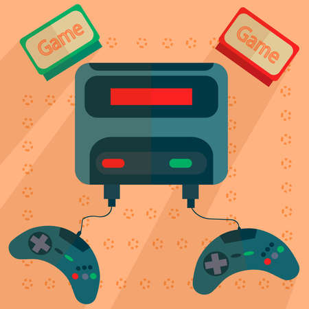 handheld device: Retro game console with joysticks and cartridges drawn into flat style with bright colors on the background. Vector Illustration Illustration