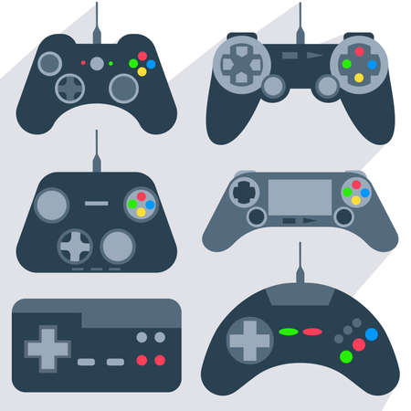 Set of various gamepads, joysticks of different generations, with bright buttons into flat style. Vector Illustration