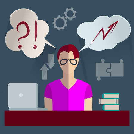 realization: Set of design elements for infographics, man with the idea of looking for options for its realization with clouds - thoughts above his head. Vector illustration Illustration