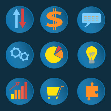 purchasing manager: Set of design elements for infographics or web design, image of a business  idea or business plan diagrams, shopping, chat, into flat style. Vector illustration