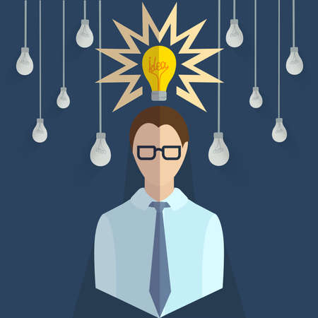 purchasing manager: Set of design elements for infographics. Choosing the right ideas from many other, the idea of designated bulb. It can be used for design. Vector illustration Illustration