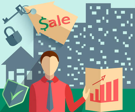 purchasing manager: Set of design elements for infographics, Businessman Real estate trade, house in the background into flat style. Vector illustration