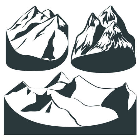 principles: Monochrome set mountains of different rocks for background or principles of design. Made in the style graphics. Vector Illustration Illustration