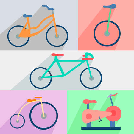 widely: Set of different colored icons bicycles into flat style.It can be widely used in the design. Vector Illustration Illustration