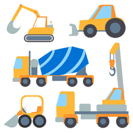 graders: Set of construction machinery for repairs and loading, painted in the style of flat color. Vector Illustration