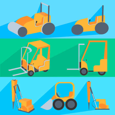 graders: Set painted in the style of flat color, construction machinery for repairs and loading, painted in the style of flat color. Vector Illustration