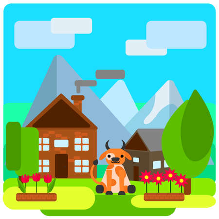 near: Cow on a farm near the house on a background of mountains and sky with clouds, near the flower beds and trees. Vector illustrations