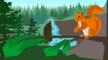 waterfall in forest: Squirrel on branch in a pine forest with a waterfall and fir trees, clear blue sky in the background. Animal, nature. In flat polygon style for design applications and sites. Vector illustration Illustration