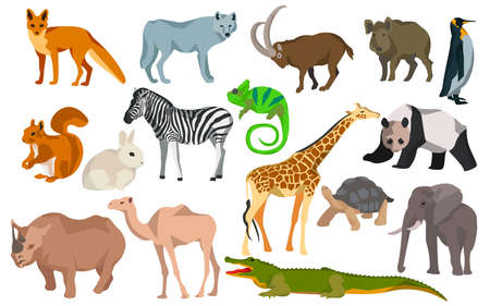 Set colored animals goat, wild boar, elephant fox wolf giraffe, turtle, crocodile, chameleon, penguin. Flat polygon style design. Vector illustration Illustration