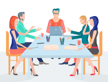 business it: Conference business people with a variety of office supplies on the table, discussing business ideas. It can be used to design websites or applications. Vector Illustration Illustration