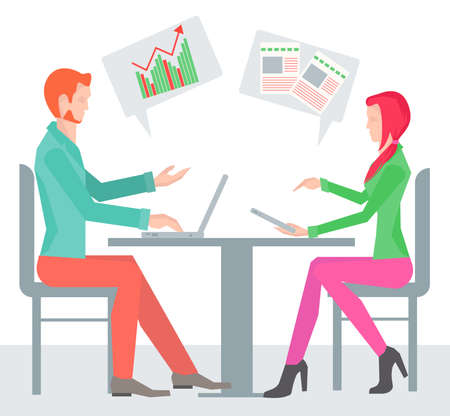 sideways: Two sitting sideways at the table business people from different spheres of activity with clouds icon over his head. Vector Illustration