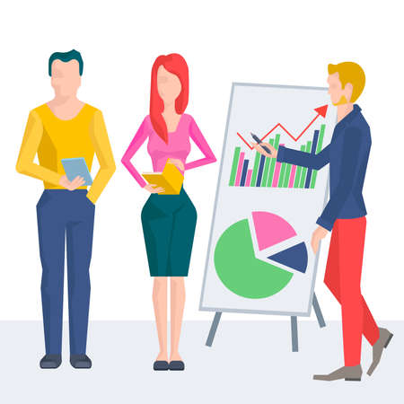 parameters: Leading business conference or training, at the blackboard with a graph showing growth of parameters. Vector Illustration