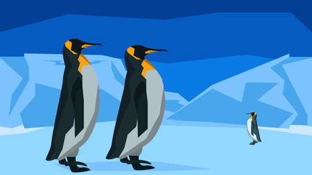south pole: The penguins at the South Pole among ice, background horizontal pattern seamless. Flat polygon style for design applications and sites. Background horizontal pattern seamless. Vector illustration Illustration