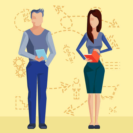business people standing: Two business people standing with a clipboard and a folder in hands on a background of dotted icons. Vector Illustration