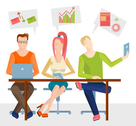 Three sitting at the table Business people from different spheres of activity with clouds icon over his head. Vector Illustration